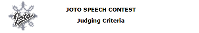 JOTO SPEECH CONTEST Judging Criteria